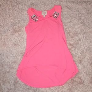 pink top with rhinestoned collar